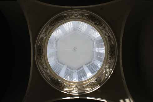 Looking up into the cupola from the top of the stairs
