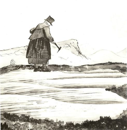 An informal sketch of Mary Anning, fossiling on the shore at Lyme, probably in the 1830s. The top hat is a sort of safety helmet rather than a fashion statement.