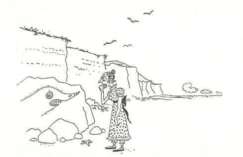 Osbert Lancaster's cartoon of 1950 shows a Jane Austen-ish miss with a very unlikely fossil