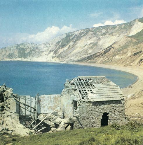 Worbarrow Bay in 1968. The ruined cottage has long since gone.