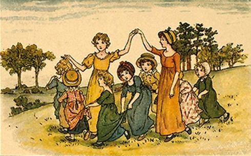 Young Henry Joyce would surely have played the traditional game of 'Oranges and Lemons' at the children's parties that he attended in Wimborne.  This rather decorous Kate Greenaway illustration belies the boisterous and rather sinister end to the game when one of the children is caught and 'beheaded'.